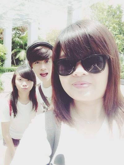 With my cousin and sister