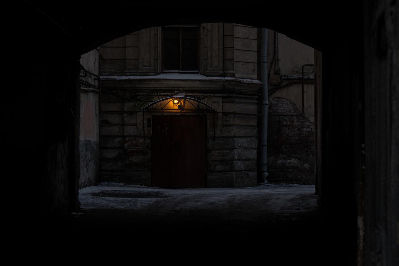 illuminated, night, architecture, built structure, no people, door, indoors, doorway, building exterior, open door
