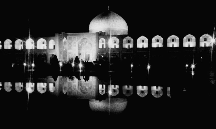 A Place For Moon And Me Reflection Night No People Dome Should Be Here Silent Moment Lifestory Blackandwhite Black And White Black And White Photography Blackandwhite Photography Black&white Black & White Iran Isfahan Esfahan Soul Water MJ028