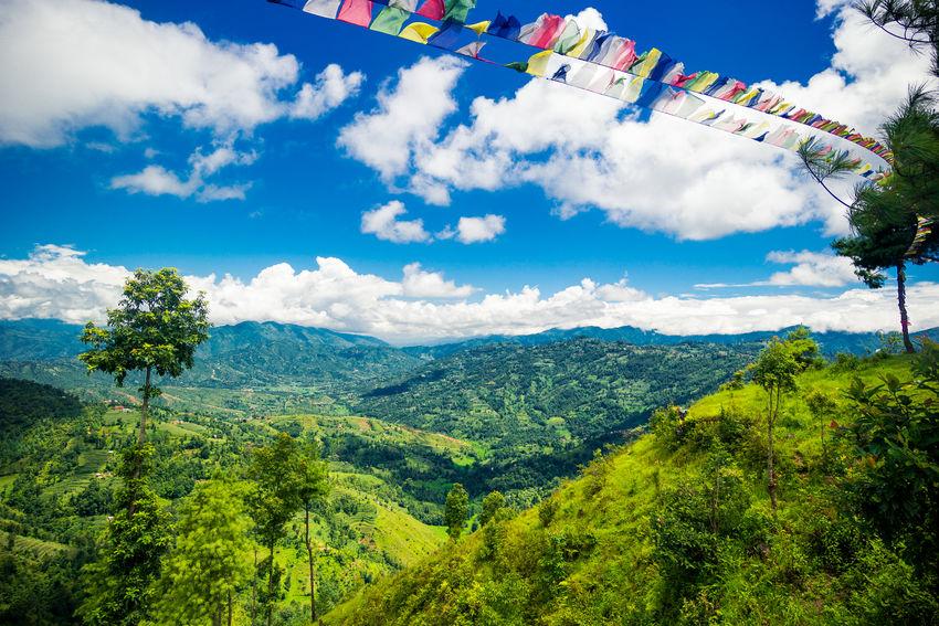 ASIA Kathmandu Nepal Beauty In Nature Cloud - Sky Day Green Color Katmandu Landscape Mountain Multi Colored Nature No People Outdoors Scenics Sky Tree