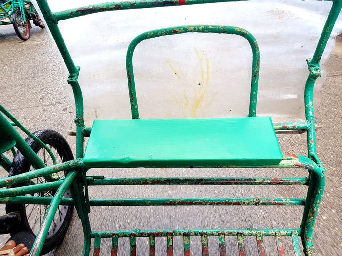 Green Color Outdoors Bike Cart Running Cart Bike No People Day Water wet street The Street Photographer - 2017 EyeEm Awards Let's Go. Together.