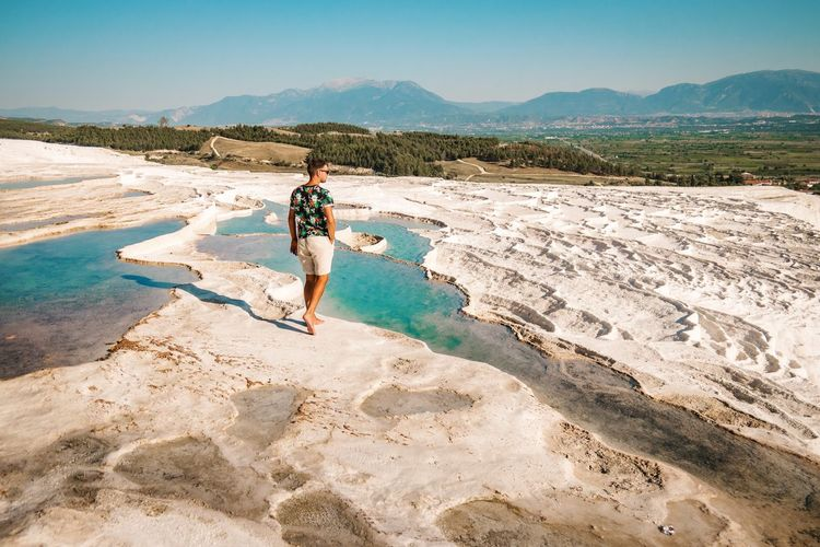 Turkey Mineral Bath Pamukkale Bath Natural Men White Vacations Blue Sunset Water Visitturkey Swimpool Pamukkale Pamukkale/Turkey Waterfront Salt Basin Salt - Mineral Shore Arid Landscape Calm Salt Flat Horizon Over Water Alicante Salt Lake Bolivia