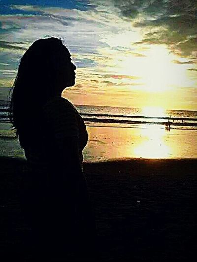 Me, My Self And I Kuta Beach Bali, Indonesia Sunset Silhouette Lonely Traveling Wonderful I Love BALI That's Me Beach View