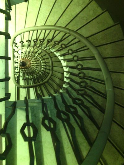 Architecture Banisters Barcelona Building Interior Look Down Metalwork Stairs Winding Staircase