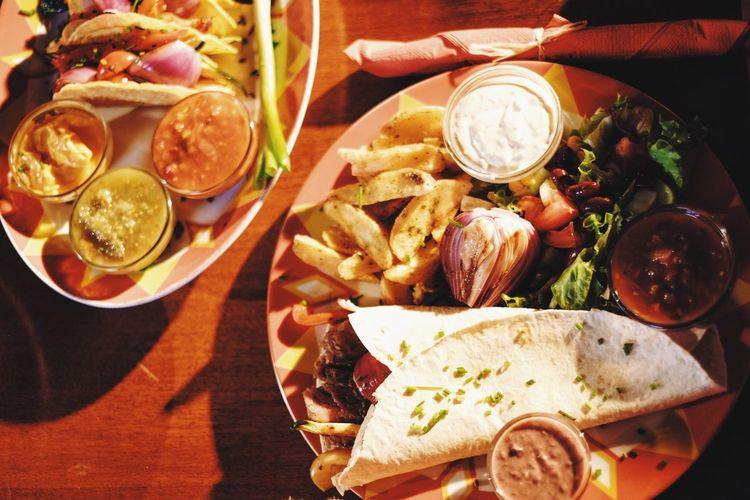 Directly Above Shot Of Food Served In Plate On Table