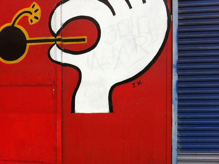 Red wall graffiti