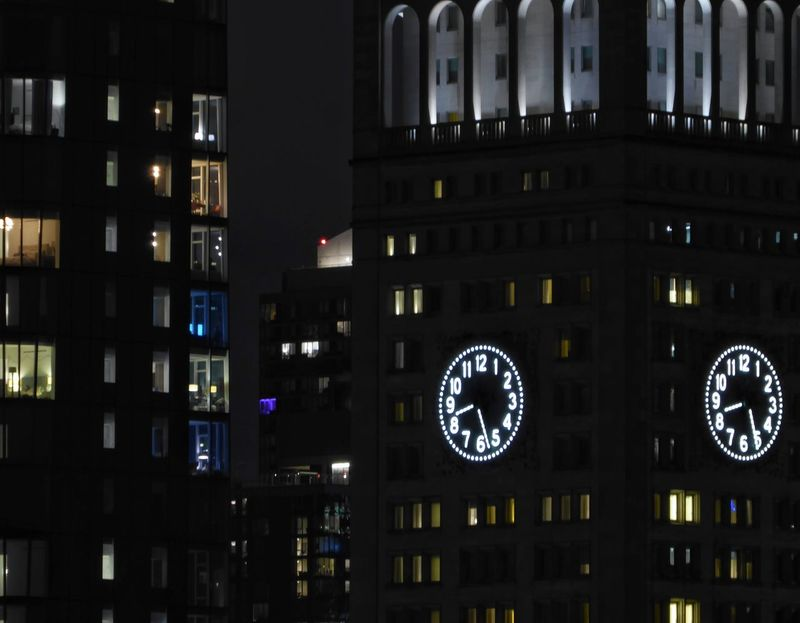 Double time. Dwellings Nighttime Lights Building Exterior Outdoors Nighttime Clock Tower Clock Face Illuminated Cityscape Photography