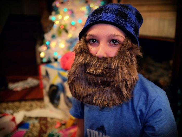 Boy wearing fake beard