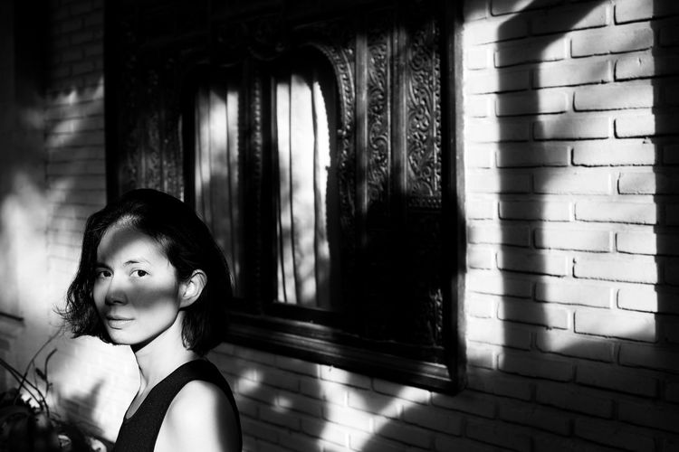 portrait of Tara Asian  Bali Copy Space INDONESIA Indonesian Little Black Dress Millenials Portrait Of A Woman Beautiful Woman Black And White Book Cover Head And Shoulders Light And Shadow Monochrome Smiling Young Adult