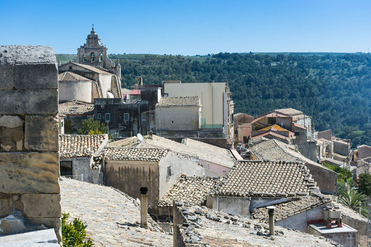 Ragusa Ibla, Sicily Architecture Building Exterior Built Structure Cityscape Clear Sky Day High Angle View Mountain Nature No People Outdoors Place Of Worship Ragusa Ragusa Ibla Religion Roof Sky Spirituality Sunlight Town Travel Destinations Tree