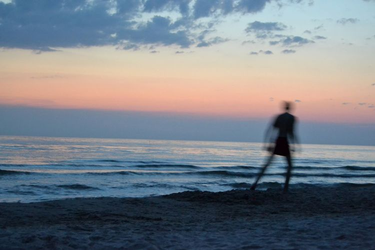 Water Sea Sunset Full Length Beach Sport Wave Men Sportsman Silhouette Dramatic Sky Storm Cloud