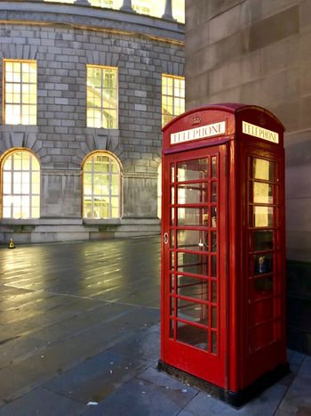 Wet Floor Dirty Humans Buildings Old Classic Communication Telephone Booth Text Built Structure Window Red Architecture Pay Phone Telephone Day No People Building Exterior Indoors  EyeEmNewHere