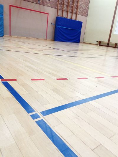 playing field in a gym sports center Gym Sports Center Playing Field Parquet Wooden Paneling Goal Field Line Limit Line Play Soccer Indoor Indoor Sports Ball Sports Indoors  No People Day Architecture