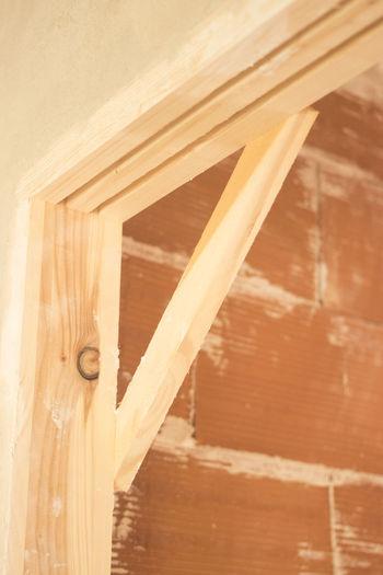 High angle view of wooden door
