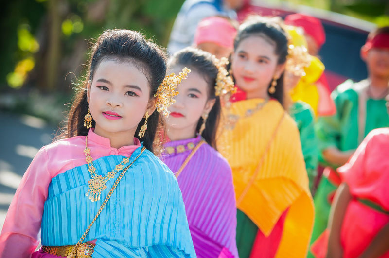 Adult Beautiful Woman Clothing Day Females Festival Focus On Foreground Group Of People Incidental People Innocence Leisure Activity Lifestyles Looking At Camera People Portrait Real People Smiling Traditional Clothing Women Young Adult