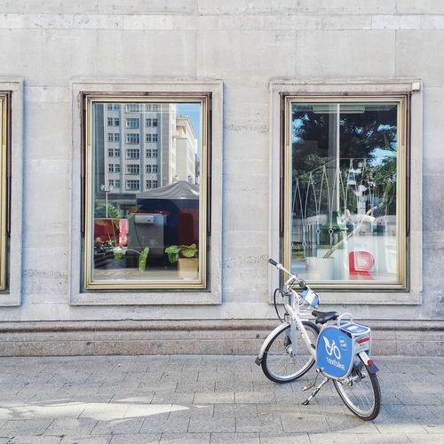 Bicycle on window