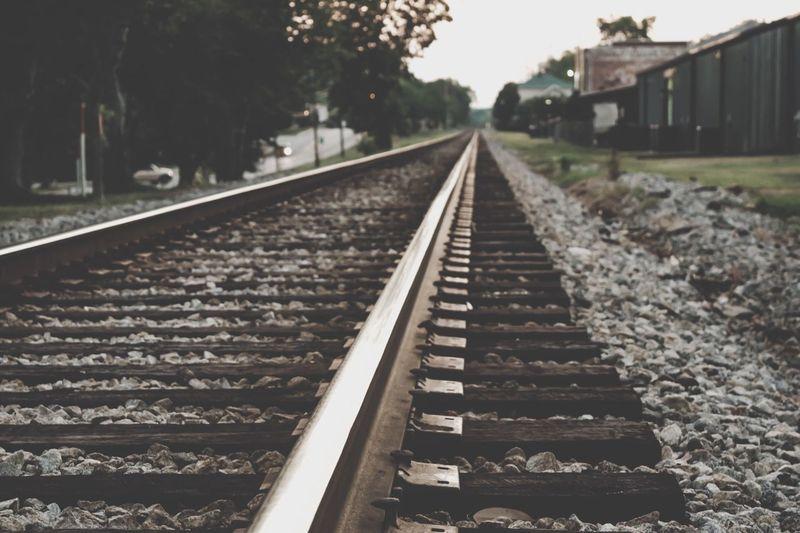 Railroad Tracks On Field