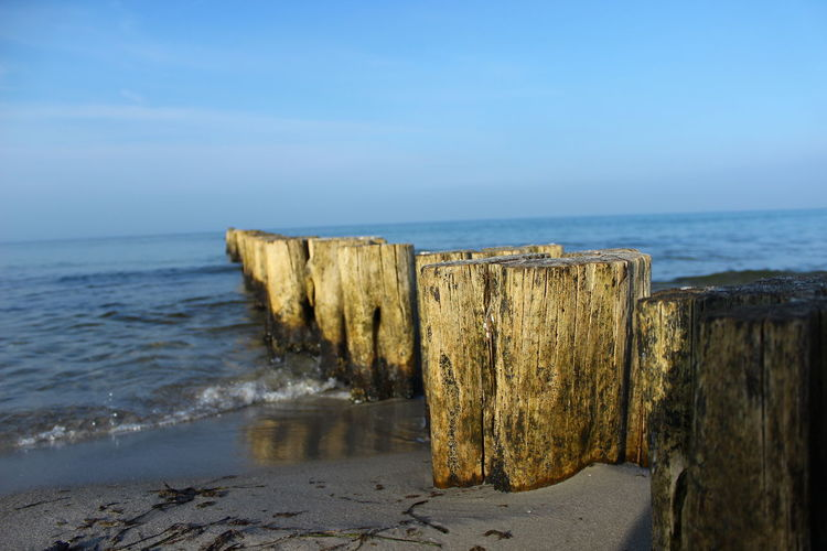 Baltic Sea Beach Beachphotography Blue Sky Horizon Over Water Outdoors Perspective Sea Water_collection Wood Wood - Material Landscapes With WhiteWall