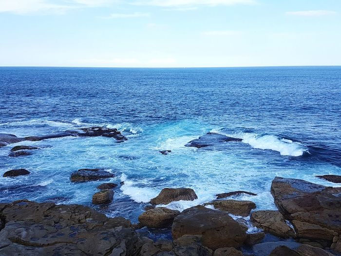Blue Tranquility Nature Landscape Travel Destinations Outdoors Scenics No People Blue Water Beauty In Nature Deep Blue Waves And Rocks Horizon Over Water Ocean Photography Calm And Serene