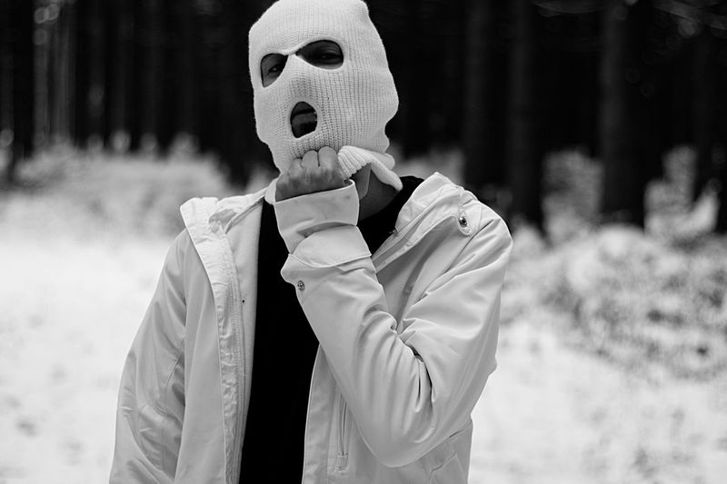 Portrait of man wearing mask while standing outdoors