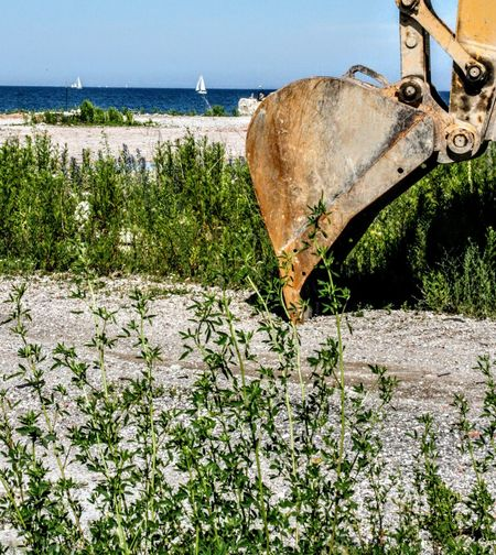Buldozer Destruction Beach Day Grass Growth Horizon Over Water Nature No People Outdoors Plant Sea Sky Water