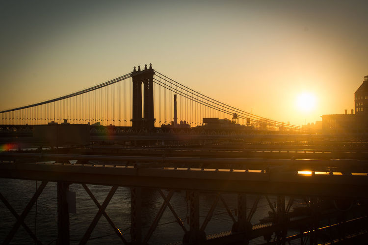 Brooklyn Bridge Built Structure Bridge Architecture Bridge - Man Made Structure Connection Sky Transportation Water Sunset River Nature City Travel Destinations Engineering Building Exterior Suspension Bridge Travel Sun Outdoors Cityscape Bay