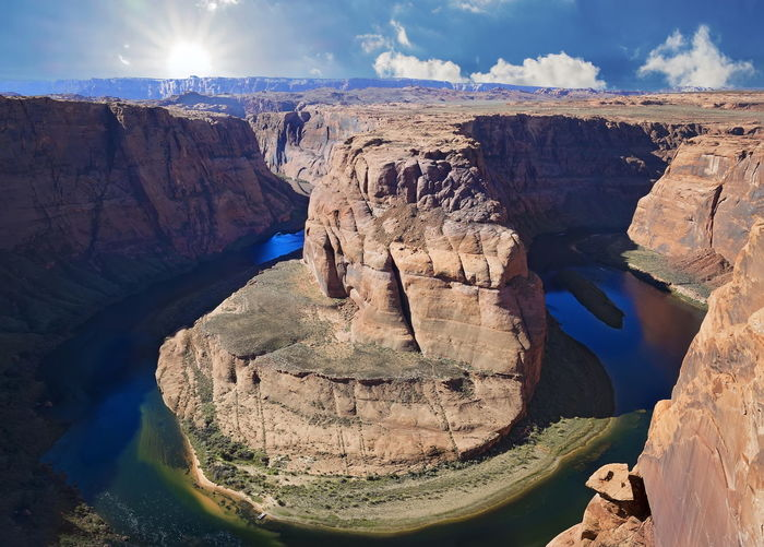 View of horseshoe bend against sky