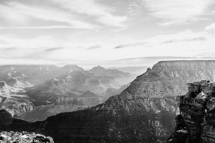 Black And White Grand Canyon Landscape Mountain Mountain Range Nature Non-urban Scene Physical Geography Rock Formation Rocky Mountains Travel Destinations