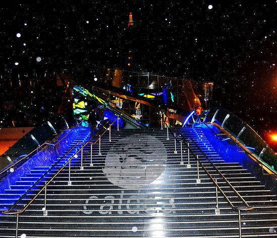Andorra Balneario Caldea City Life Cold Days Cold Temperature Cold Winter ❄⛄ Escaldes Frozen High Angle View Illuminated Luces #colores Night Night View Snow Snowballs Snowing Spa Staircase Steps And Staircases