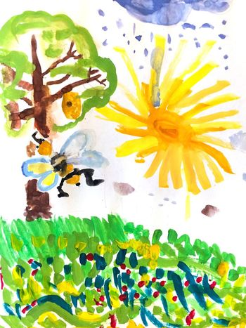 First steps in painting. Child Drawing Drawing Drawing - Art Product Picture Tree Bee Grass Meadow Paint Multi Colored Watercolor Painting Sun Green Yellow Imagination Vibrant Color No People Alex Drawing 2 Lesson 7 Years Old Алекс рисует Gouache Watercolor Hand Drawing