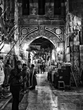 Khan Al-Khalili in Black and white Travel Destinations Large Group Of People Real People Illuminated Architecture Blackandwhite Black And White Black White Adapted To The City The Street Photographer The Architect - 2017 EyeEm Awards The Street Photographer - 2017 EyeEm Awards Black And White Friday
