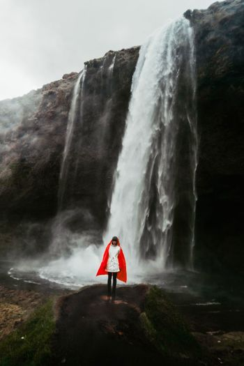 Water Motion One Person Scenics - Nature Real People Waterfall Long Exposure Beauty In Nature Full Length Nature Women Red Day Outdoors Power In Nature International Women's Day 2019