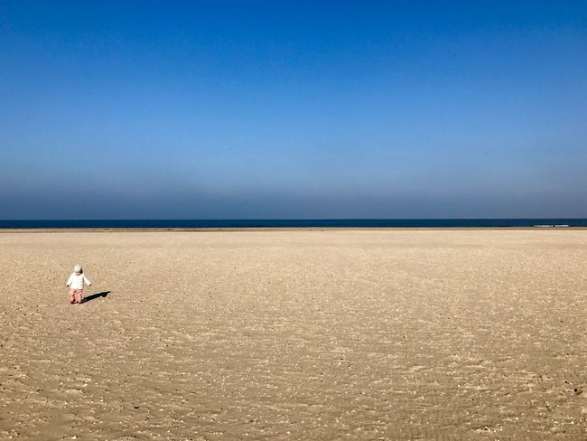 Baby Babygirl Beach Beachphotography Beauty In Nature Blue Blue Sky Clear Sky Day Girl Horizon Over Water Kid Little Girl Nature No People Outdoors Sand Scenics Sea Sky Sunlight Tranquil Scene Tranquility Water Wide Angle