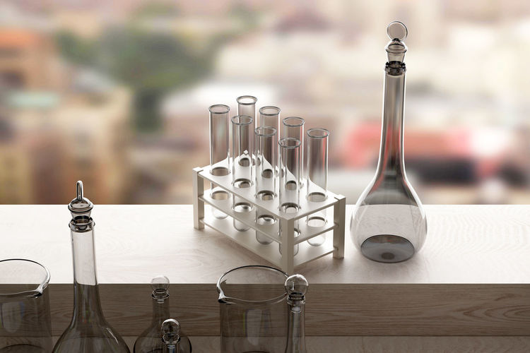 3d rendering of some laboratory utensils Science Close-up Container Focus On Foreground Group Of Objects Indoors  Laboratory No People Pipettes Table Wood - Material