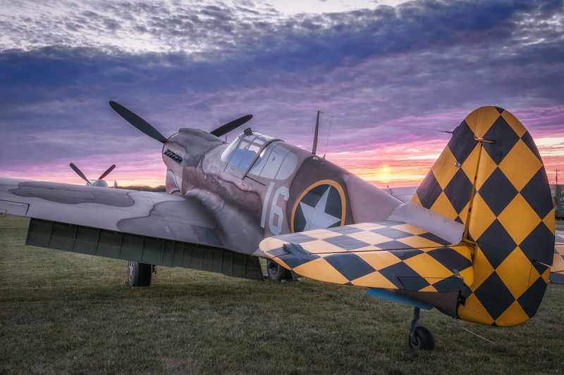 P-40 Sunset at Oshkosh 2016 Aircraft Airplane Airventure Curtiss P-40 Fighter Flying Fuji Pro-1 OshKosh P-40 Sunset WWII