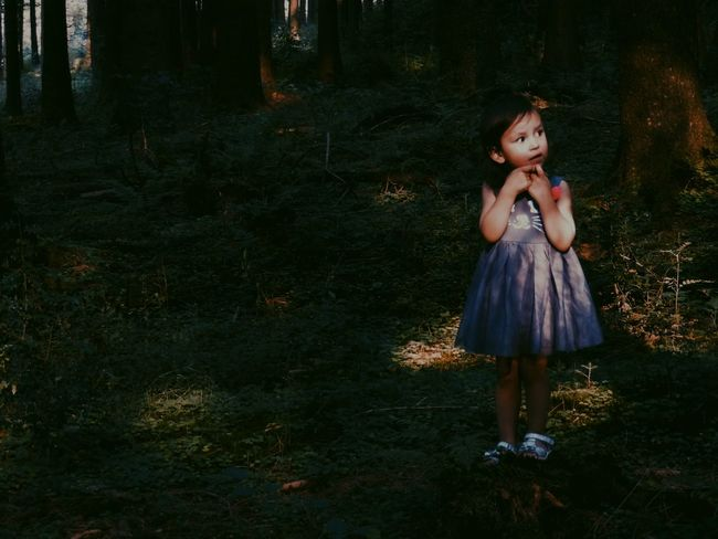 """""""I think I will go deeper, but what was this noise?"""" Little Girl Alone In The Dark Woods Portrait Portrait Of A Child EyeEm Best Shots - People + Portrait Storytelling Unsure Picturing Individuality Women Who Inspire You Feel The Journey People And Places"""