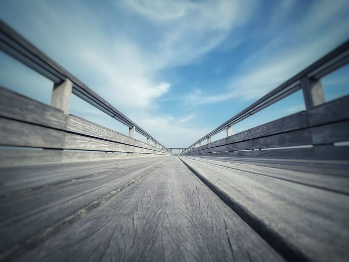 Surface level of road on bridge against sky
