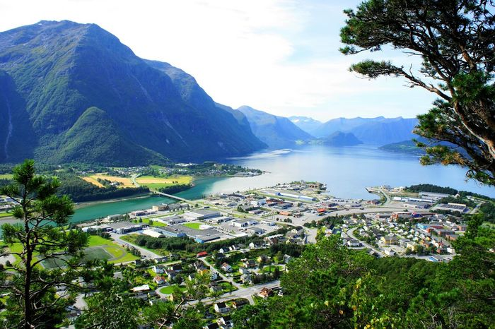 View of Åndalsnes in Western Norway. Andalsnes Western Norway Norway Newstrekker Beautiful Stockphoto Tourism Cityscapes EyeEm Nature Lover City View  Aalesund Travel Photography Gettylicious Travel Eyeem Norway City Mountain River Fjord Fjordsofnorway Fjords Hiking