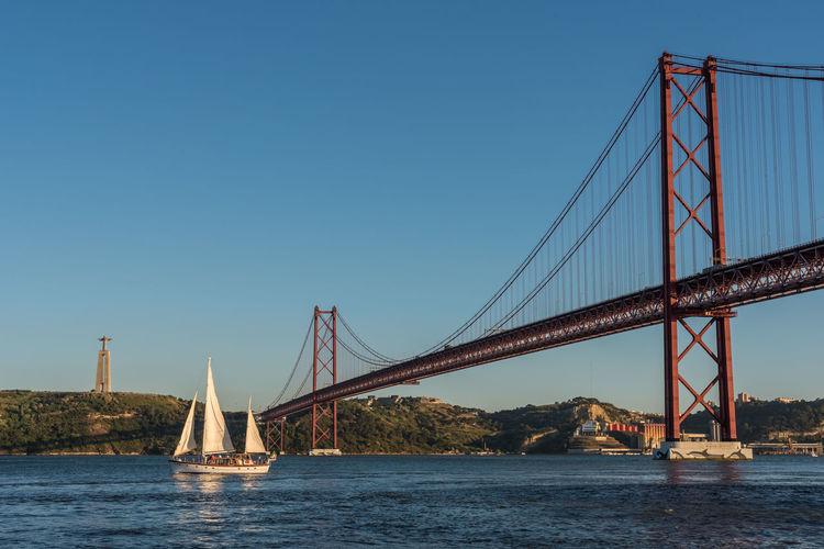 Sailboat Sailing In Tagus River By 25 De Abril Bridge Against Clear Blue Sky