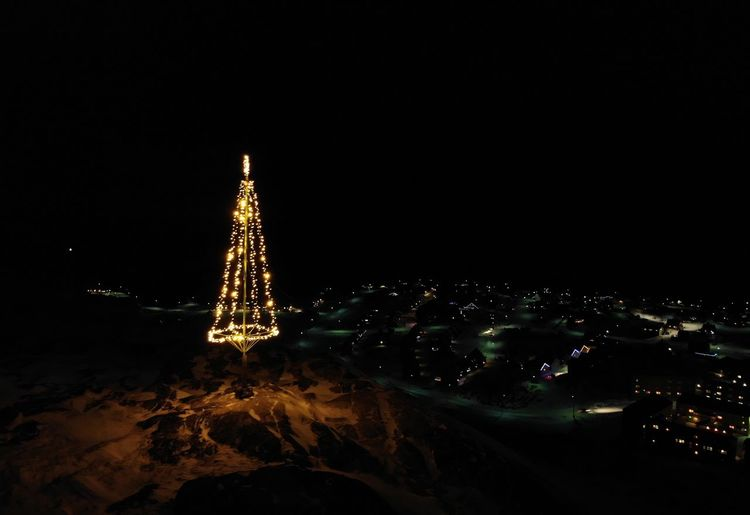 Flew my drone at night. Merry Christmas Everybody. The Real Greenland Ilulissat Ilulissat Icefjord Christmas Christmas Decoration Tree This Is Greenland DJI Mavic Pro Dji Mavic Air Holiday Holidays Merry Christmas! Lighting Equipment Decoration christmas tree Nature No People Night