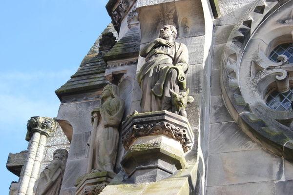 Architecture Building Exterior Day Edinburgh Lion - Feline No People Outdoors Place Of Worship Rosslyn Chapel Scotland Sculpture Sky Statue Travel Destinations