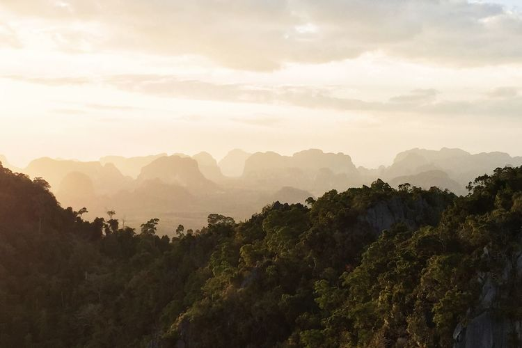 Beauty In Nature Cloud Cloud - Sky Haze Idyllic Krabi Thailand Landscape Majestic Mist Mountain Mountain Range Nature No People Non-urban Scene Outdoors Remote Rock Formation Scenics Silhouette Sky Sunset Tranquil Scene Tranquility Tree Water