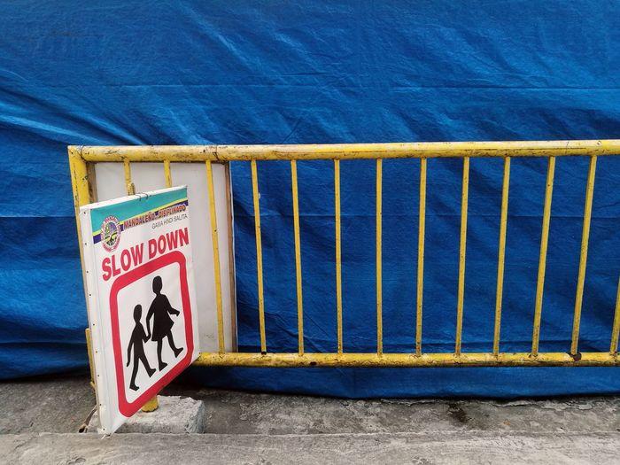 Information sign against blue sea