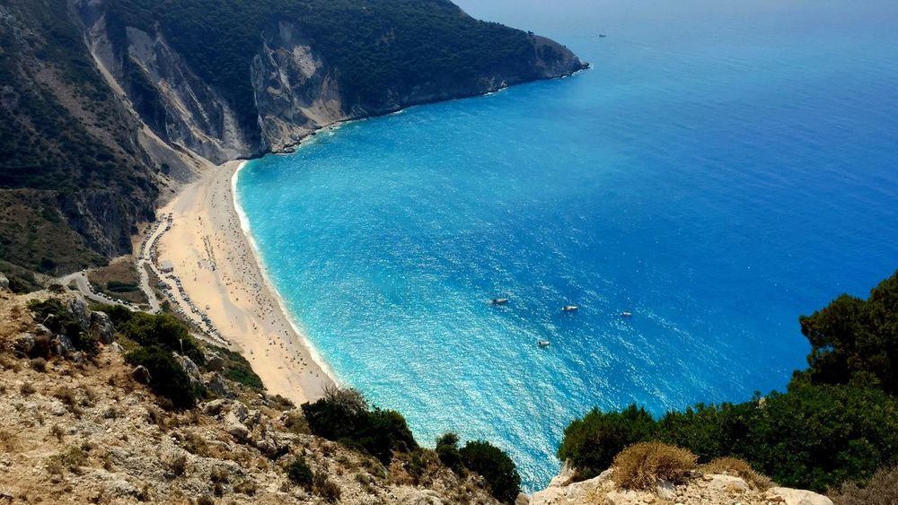 Sea High Angle View Beach Nature Scenics Water Rock - Object Beauty In Nature Aerial View Cliff Sand Tranquility Outdoors Day Mountain Sky Holiday Myrtos Beach Greece Kefalonia