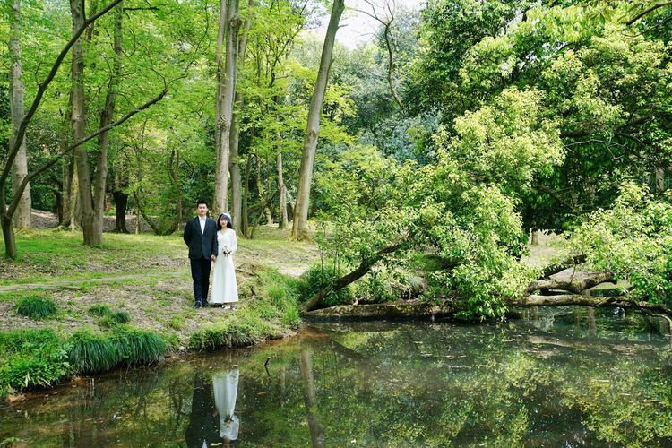 Bride And Groom Couple Wedding Real People Plant Water Tree Standing Lifestyles Green Color Nature Beauty In Nature Reflection Waterfront Lake Outdoors