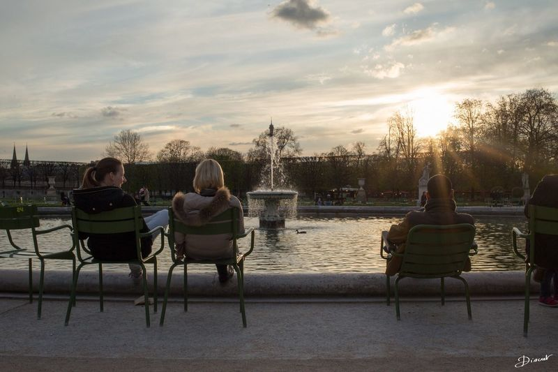 Chaises Tuileries Garden Sunset