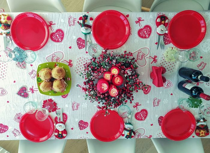 Ready for Christmas! Party Togetherness Christmas Decoration Christmas Dinner Christmas Lights Christmastime Dinner Family No People Candles Lunch Still Life Directly Above Healthy Eating Plate Food Close-up Day Freshness