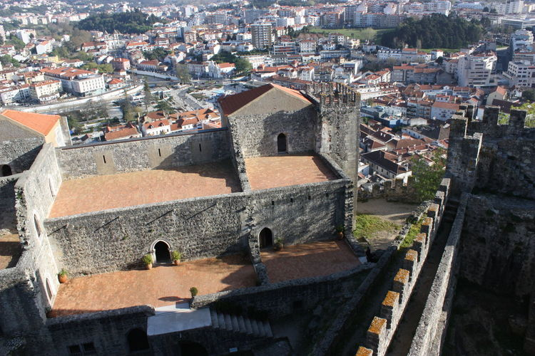 High Angle View Of Historic Castle By Cityscape