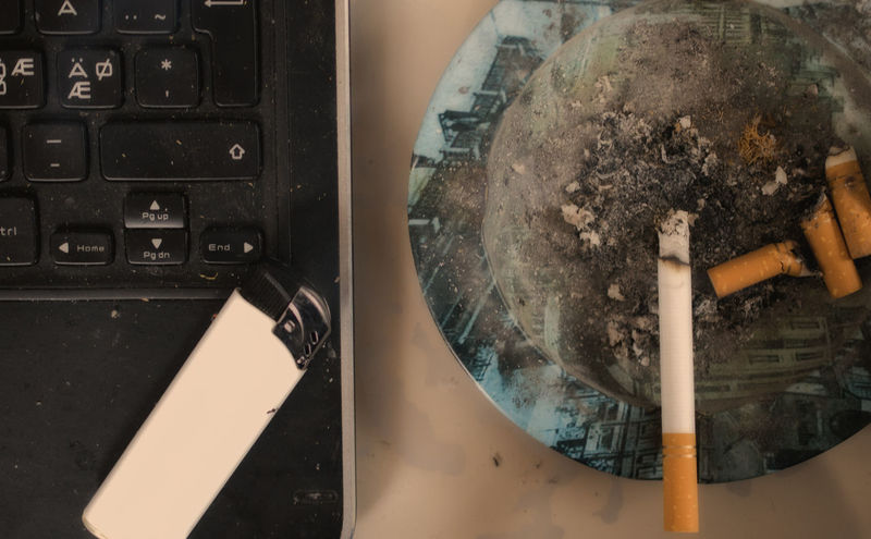 laptop, cigarette, Ashtray  Bad Habbit Cigarette  Close-up Communication Connection Day Directly Above Dirt Dirty Dust Fuel And Power Generation Habbit High Angle View Indoors  Internet Metal Mode Of Transportation Motor Vehicle Nature One Person Smoking Issues Technology Transportation Travel