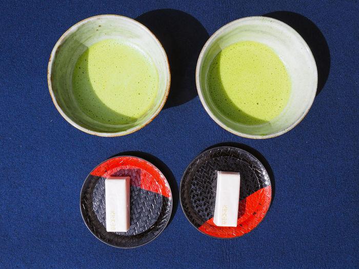 Directly above shot matcha tea on table